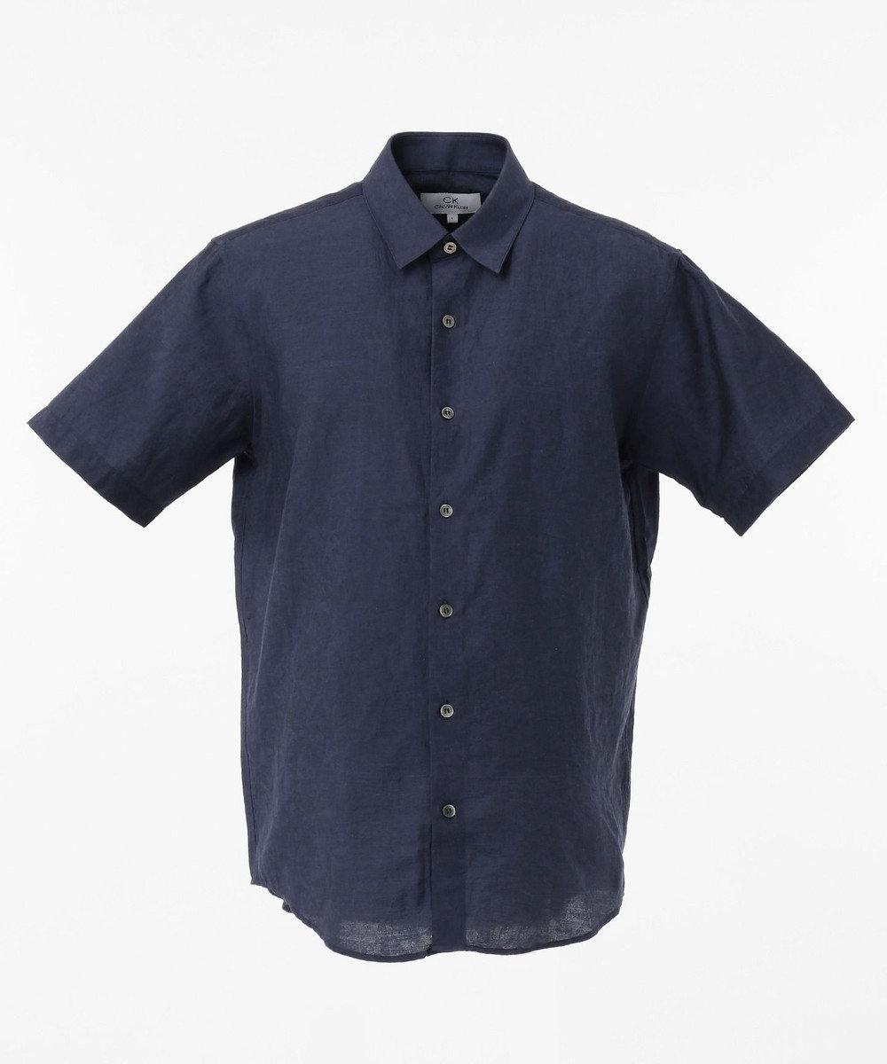 CK CALVIN KLEIN MEN クリンクルリネンジャカード 半袖シャツ / レギュラーカラー ネイビー系