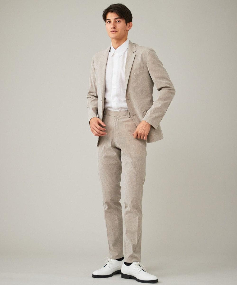 CK CALVIN KLEIN MEN クリンクルリネンジャカード 半袖シャツ / レギュラーカラー ホワイト系