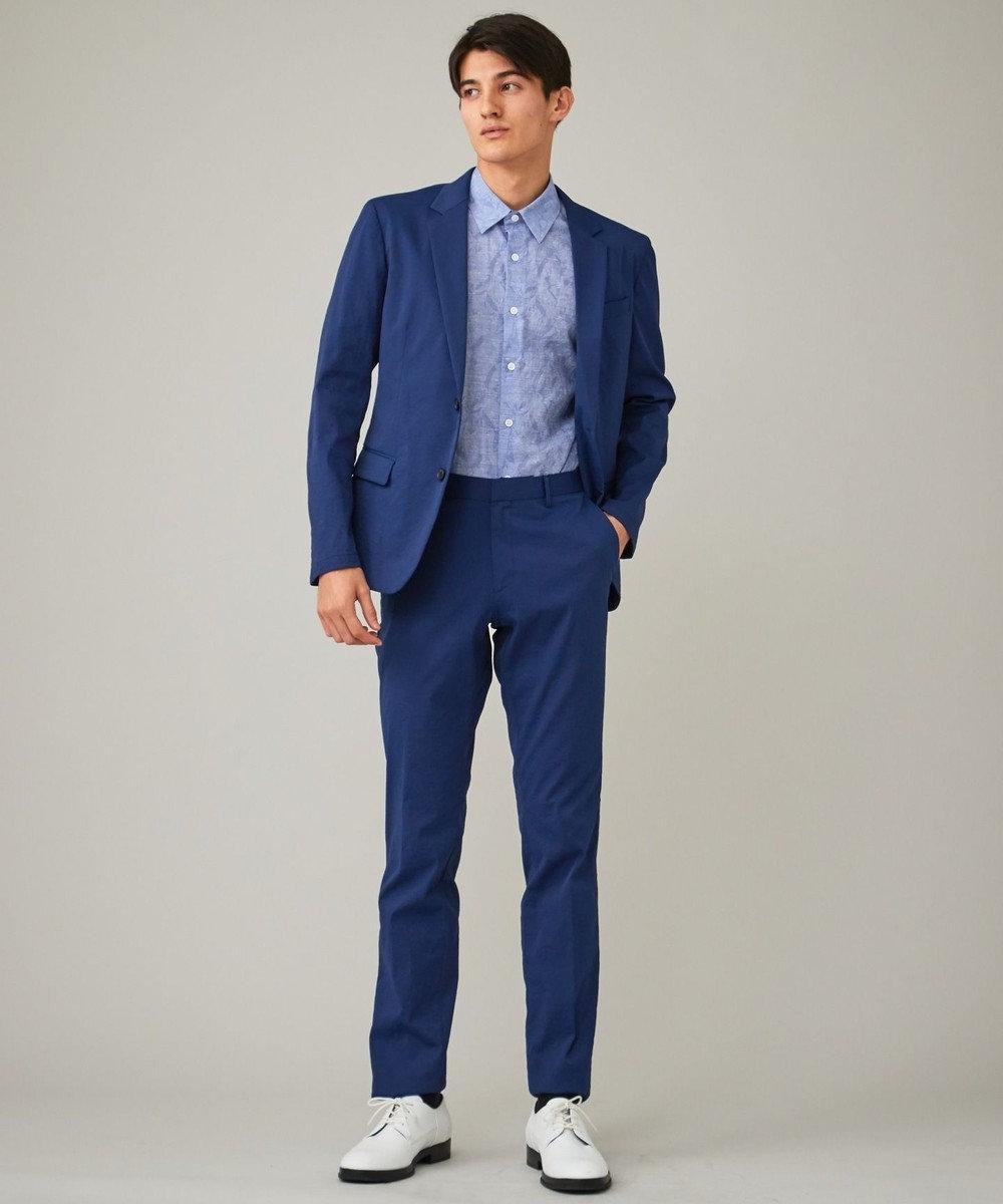 CK CALVIN KLEIN MEN クリンクルリネンジャカード 半袖シャツ / レギュラーカラー スカイブルー系