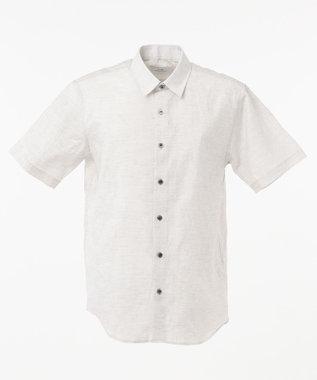 CK CALVIN KLEIN MEN クリンクルリネンジャカード 半袖シャツ / レギュラーカラー ライトグレー系