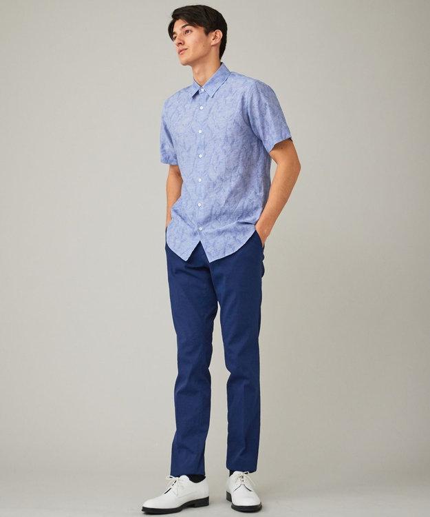 CK CALVIN KLEIN MEN クリンクルリネンジャカード 半袖シャツ / レギュラーカラー