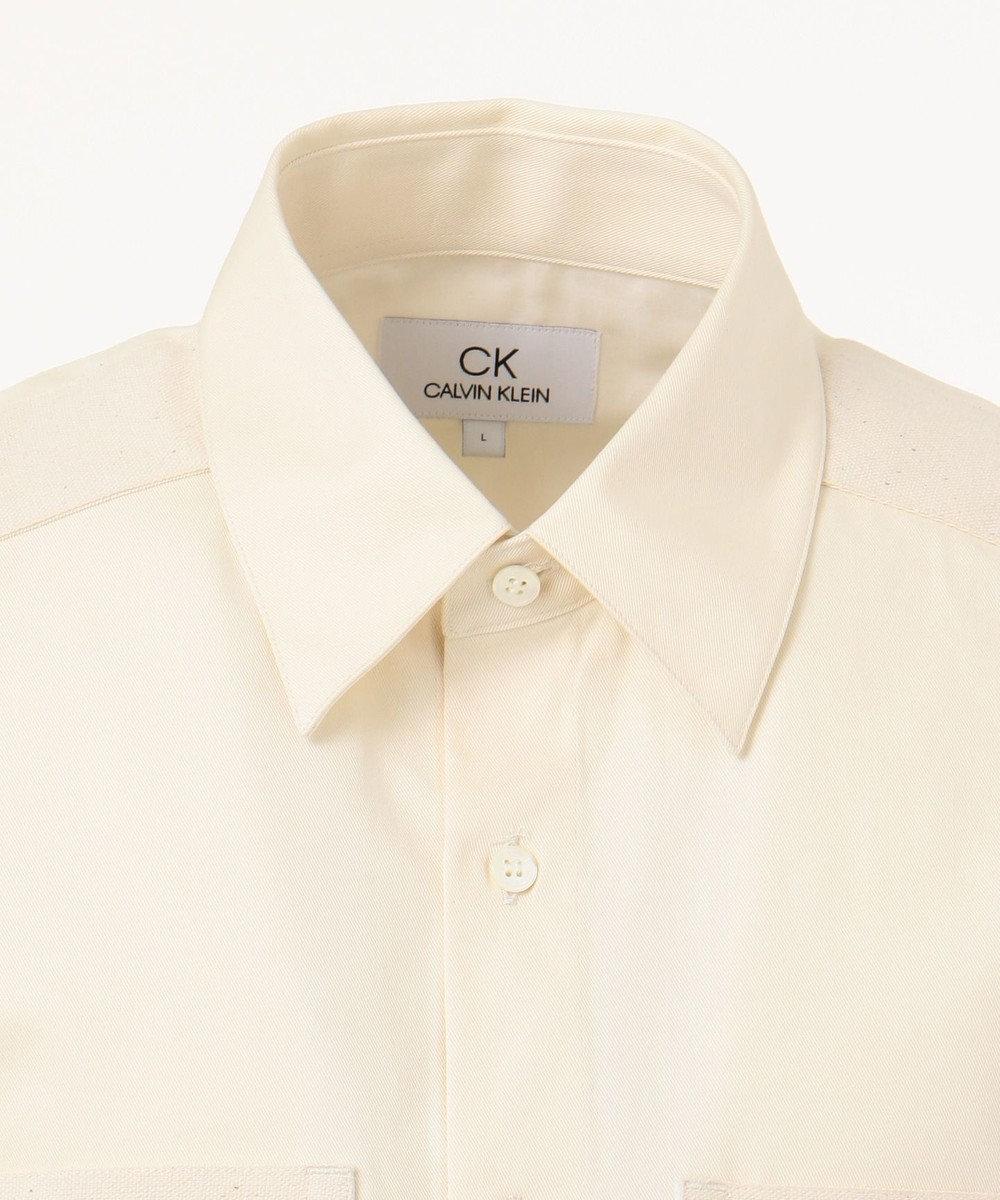 CK CALVIN KLEIN MEN クラシックコットンツイル 半袖シャツ アイボリー系