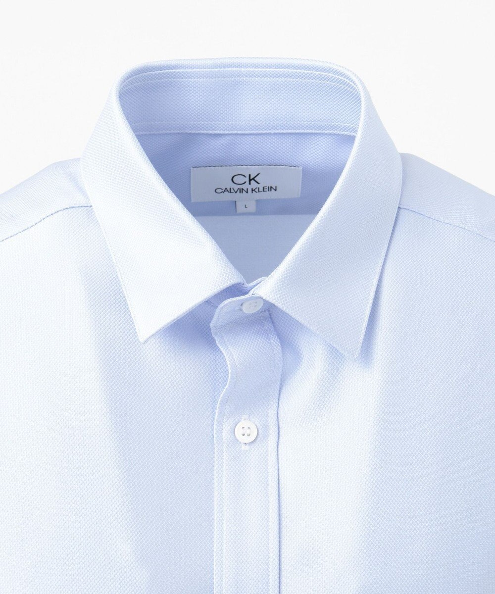CK CALVIN KLEIN MEN 【WEB限定・クールビズ】ノンプレスシャーティング 半袖シャツ スカイブルー系