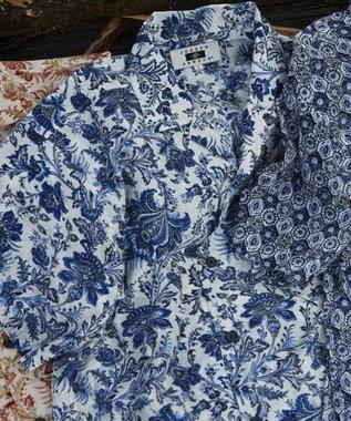 JOSEPH ABBOUD 【キングサイズ】オリエンタルビンテージ シャツ ネイビー系5