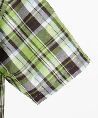 JOSEPH ABBOUD 【JOE COTTON】スラブマドラス シャツ 黄緑系4