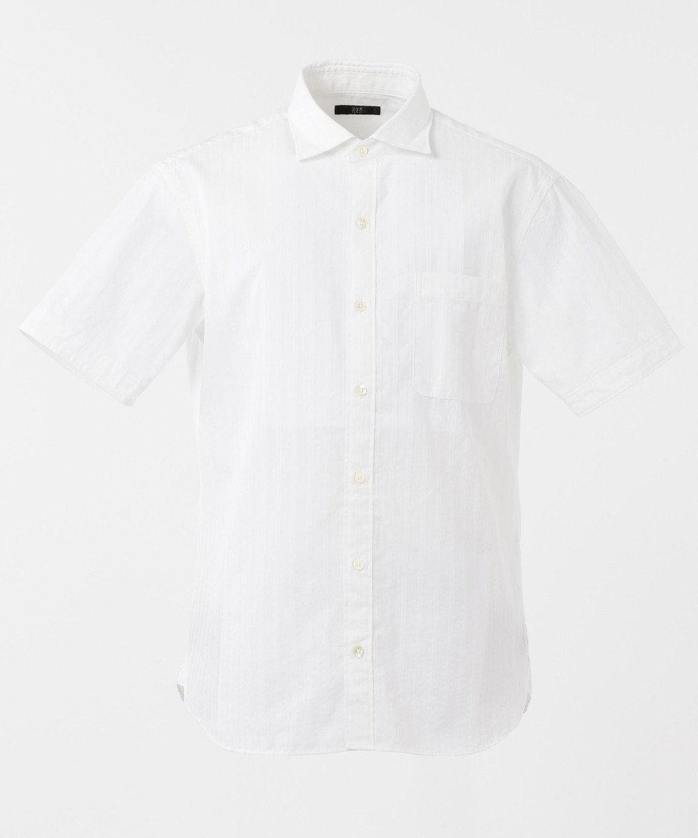 23区HOMME コンパクトストレッチドビーシャツ ホワイト系