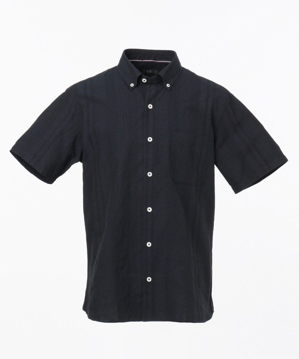 23区HOMME コットンジャガードシャツ ネイビー系
