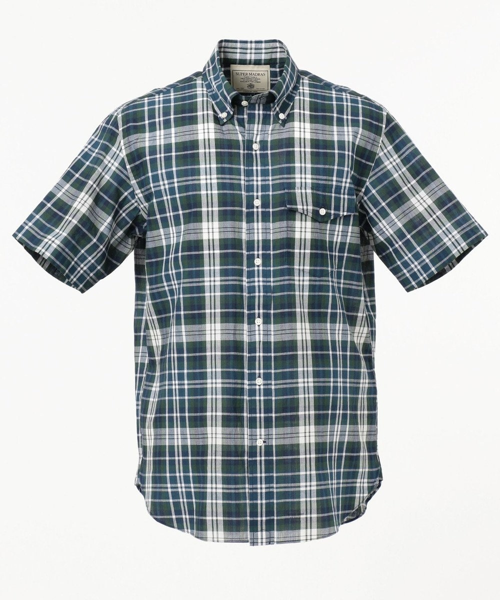 J.PRESS MEN スーパーマドラス 半袖シャツ / ボタンダウン グリーン系3