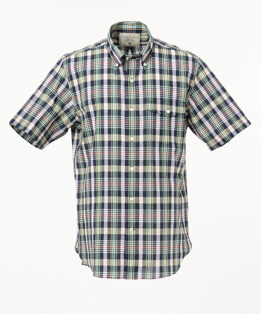 J.PRESS MEN スーパーマドラス 半袖シャツ / ボタンダウン ネイビー系3