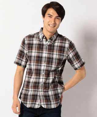 J.PRESS MEN マドラスチェック 半袖 シャツ ブルー系3