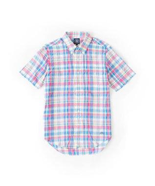 J.PRESS MEN マドラスチェック 半袖 シャツ ピンク系3