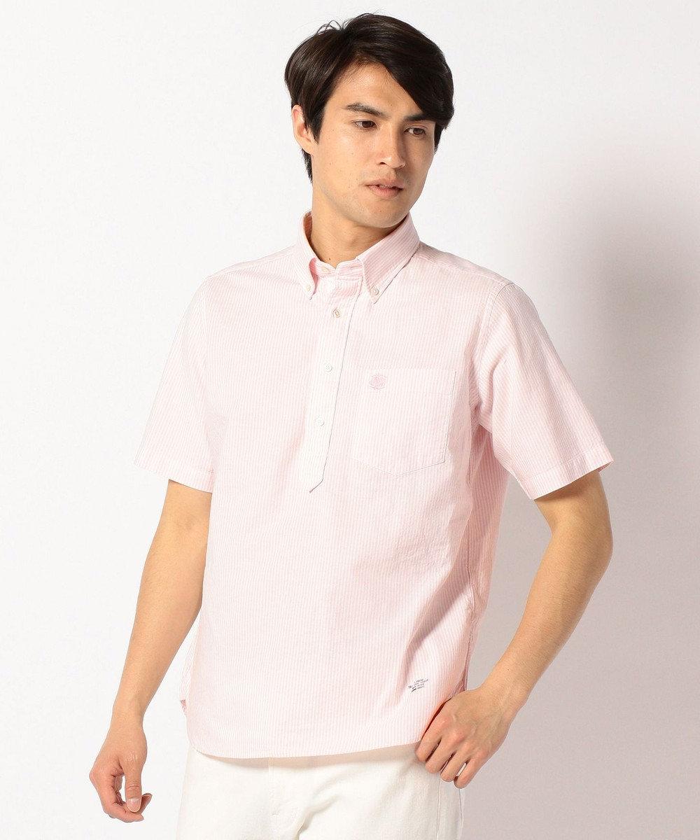 J.PRESS MEN ヴィンテージオックスキャンディストライプ 半袖シャツ ピンク系1