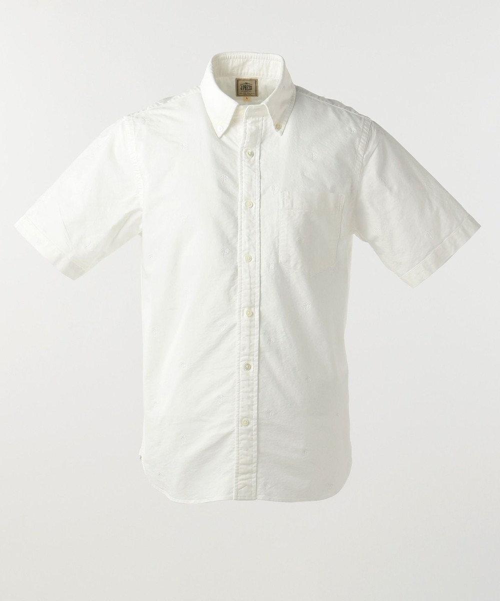 J.PRESS MEN オックス / ヤシの木半袖 シャツ ホワイト系