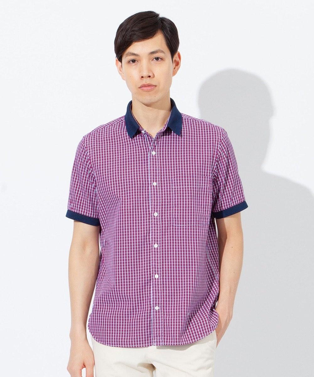 J.PRESS MEN ピンオックス / チェックポロカラー半袖 シャツ ローズ系3