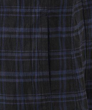 23区HOMME 【シャツアウター】リネンチェックワッシャーシャツアウター ネイビー系3