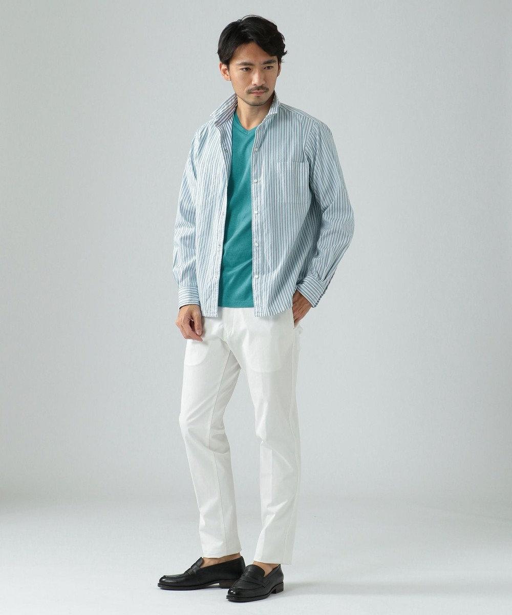 23区HOMME 【リバーシブル】ドビーストライプ シャツ ブルー系1