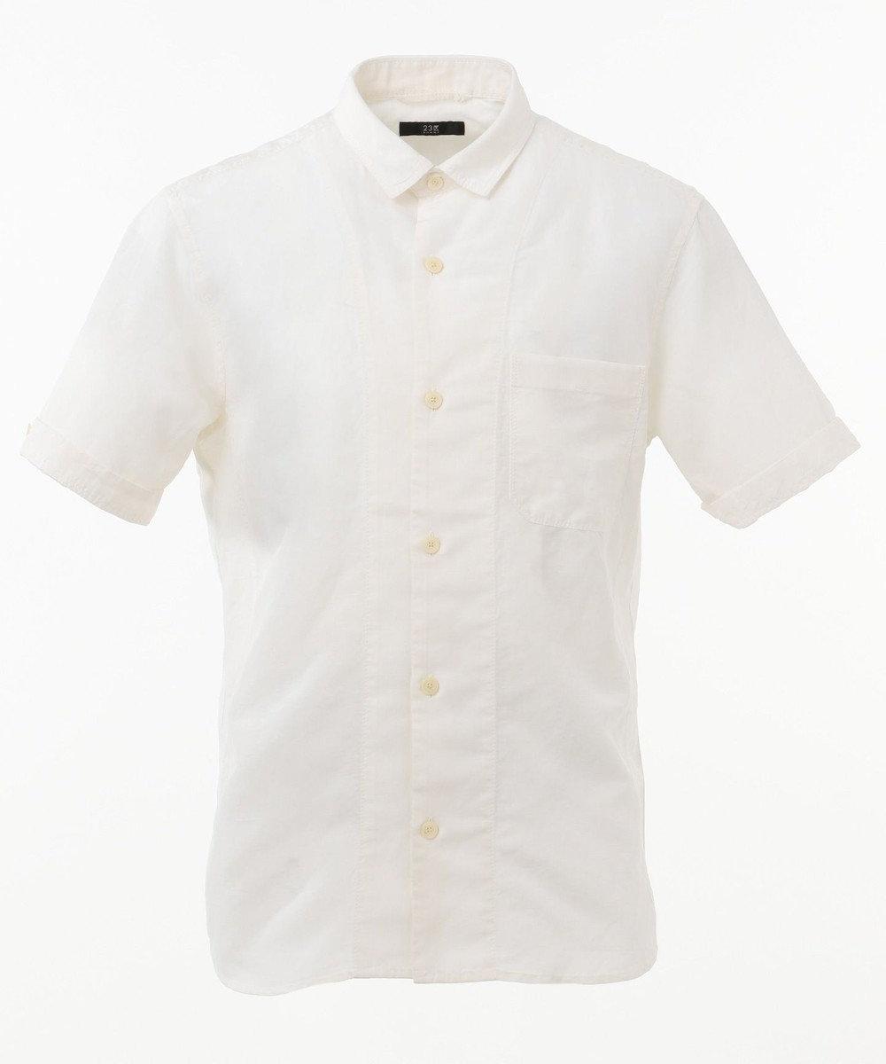 23区HOMME 【洗える】ハイツイストリネンキュプラ シャツ ホワイト系