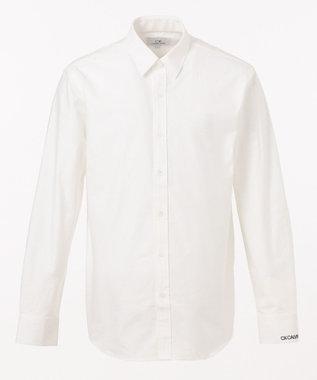 CK CALVIN KLEIN MEN 【ロゴ刺繍】ハードボイルドオックス シャツ ホワイト系