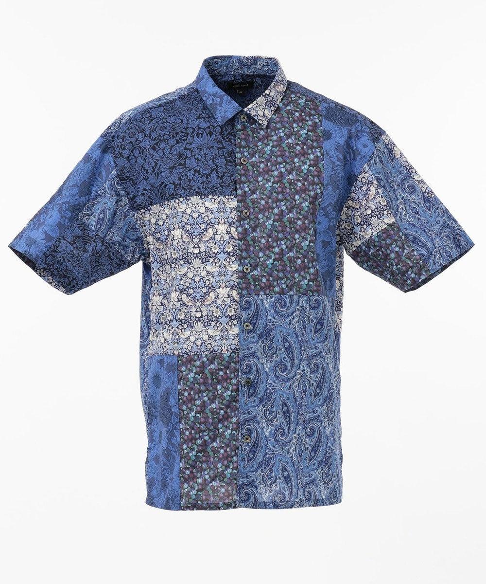 JOSEPH HOMME パッチワークリバティ 半袖シャツ ネイビー系3