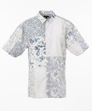 JOSEPH HOMME パッチワークリバティ 半袖シャツ ホワイト系3