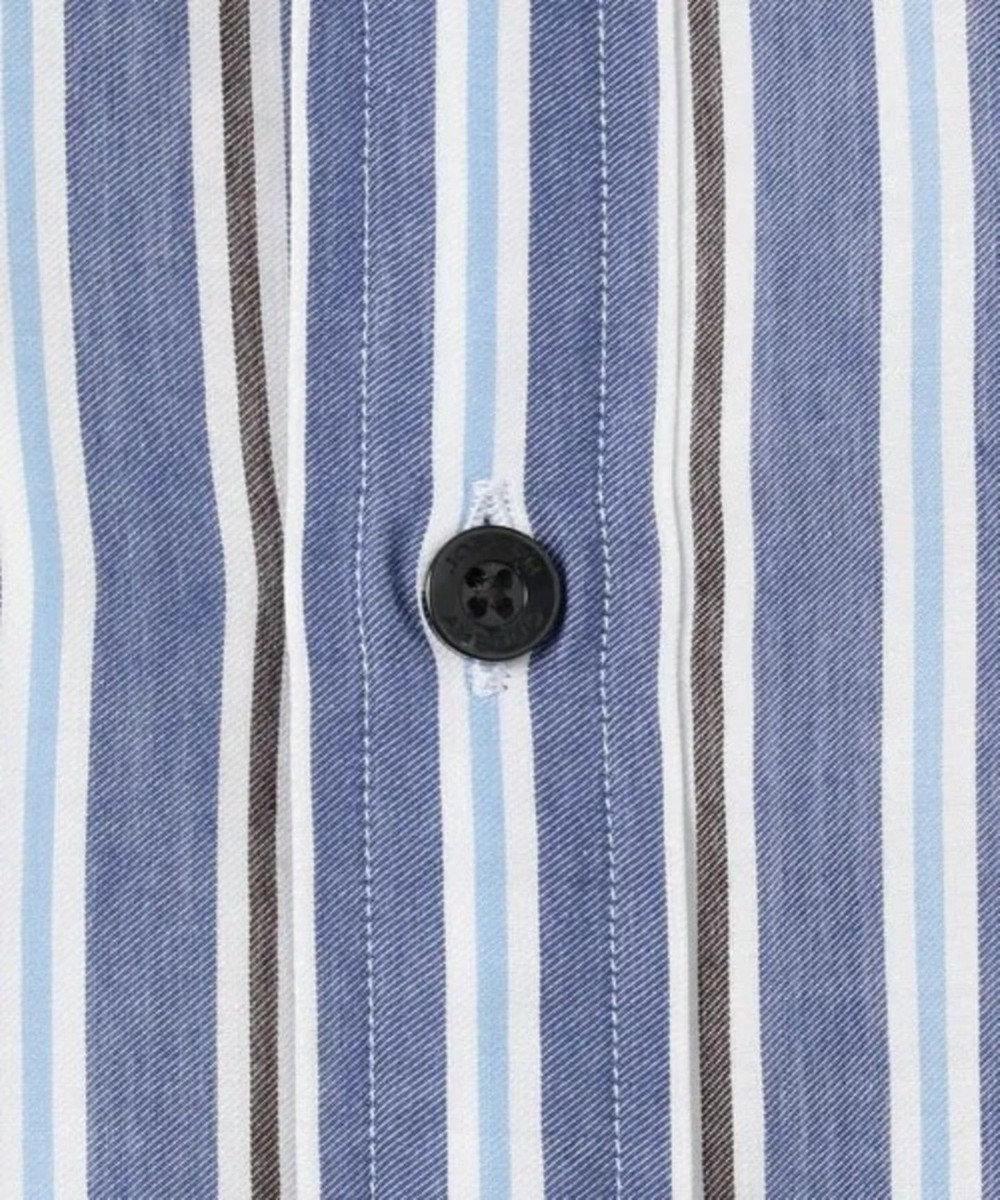 JOSEPH ABBOUD 【キングサイズ・なめらか触感】コットンテンセルストライプ シャツ ダークブラウン系2