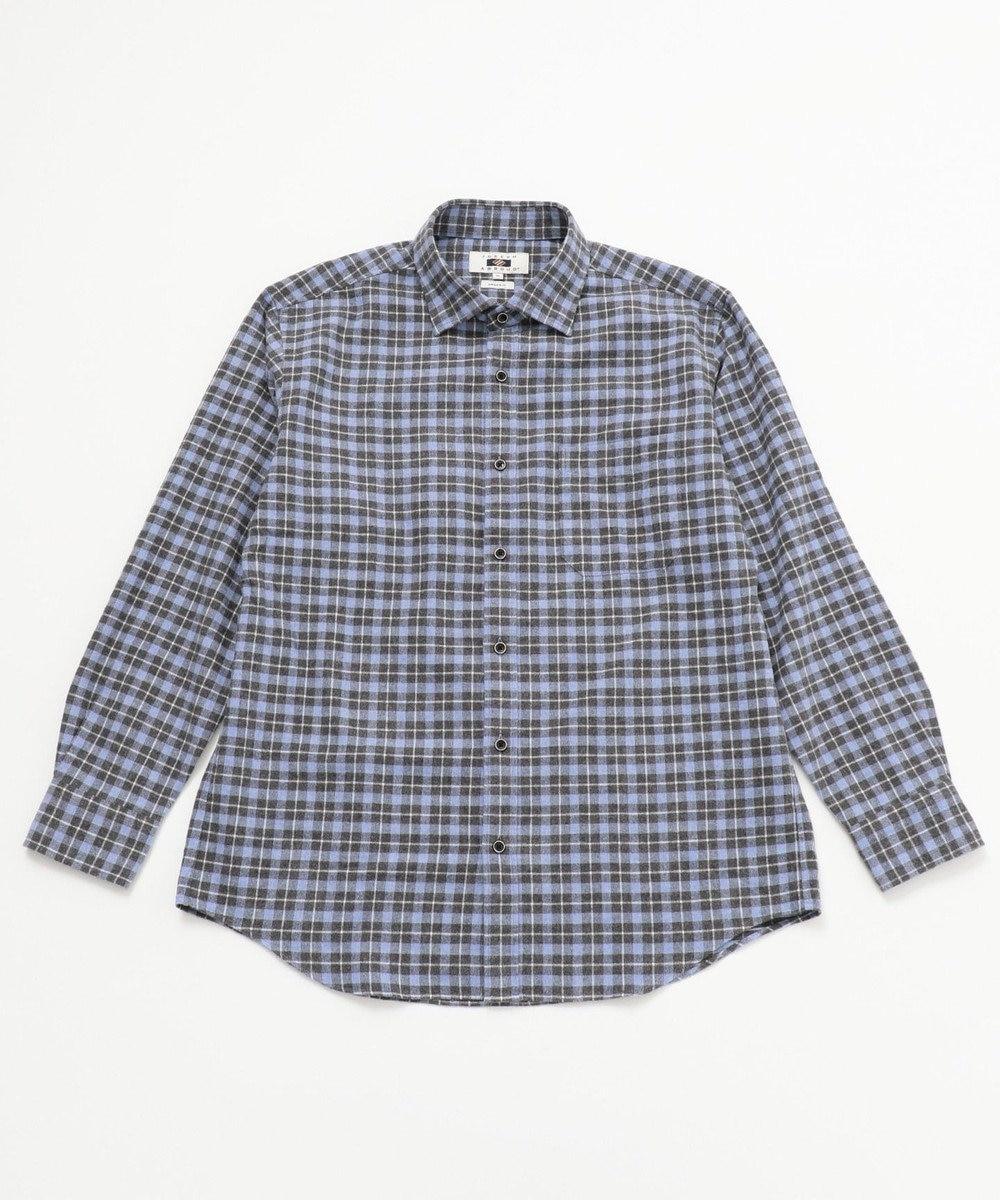 JOSEPH ABBOUD 【キングサイズ・JOE COTTON使用】起毛チェック シャツ ネイビー系3