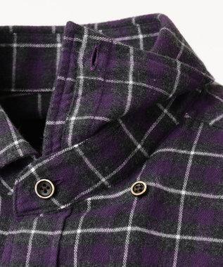 JOSEPH ABBOUD 【キングサイズ・JOE COTTON使用】起毛チェック シャツ パープル系3