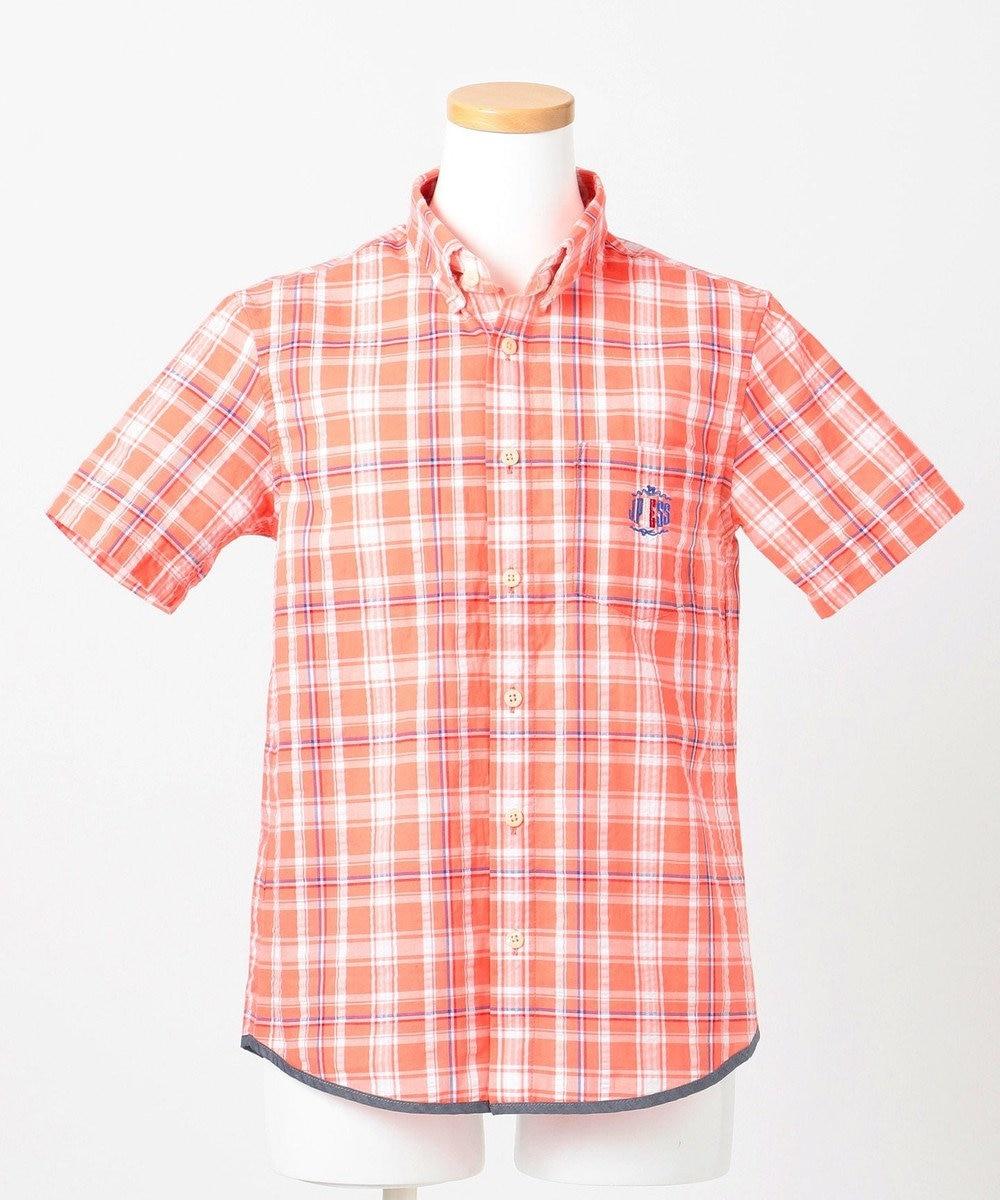 J.PRESS KIDS 【140-170cm】サッカーチェックシャツ ライトオレンジ系3