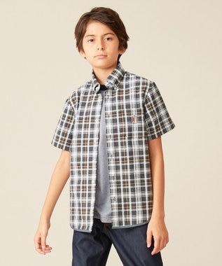 J.PRESS KIDS 【140-170cm】サッカーチェックシャツ グレー系3