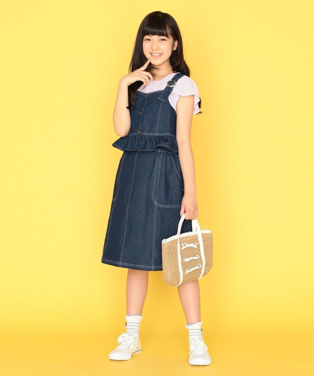組曲 KIDS 【150-170cm】ナチュラルレースブラウス ラベンダー系
