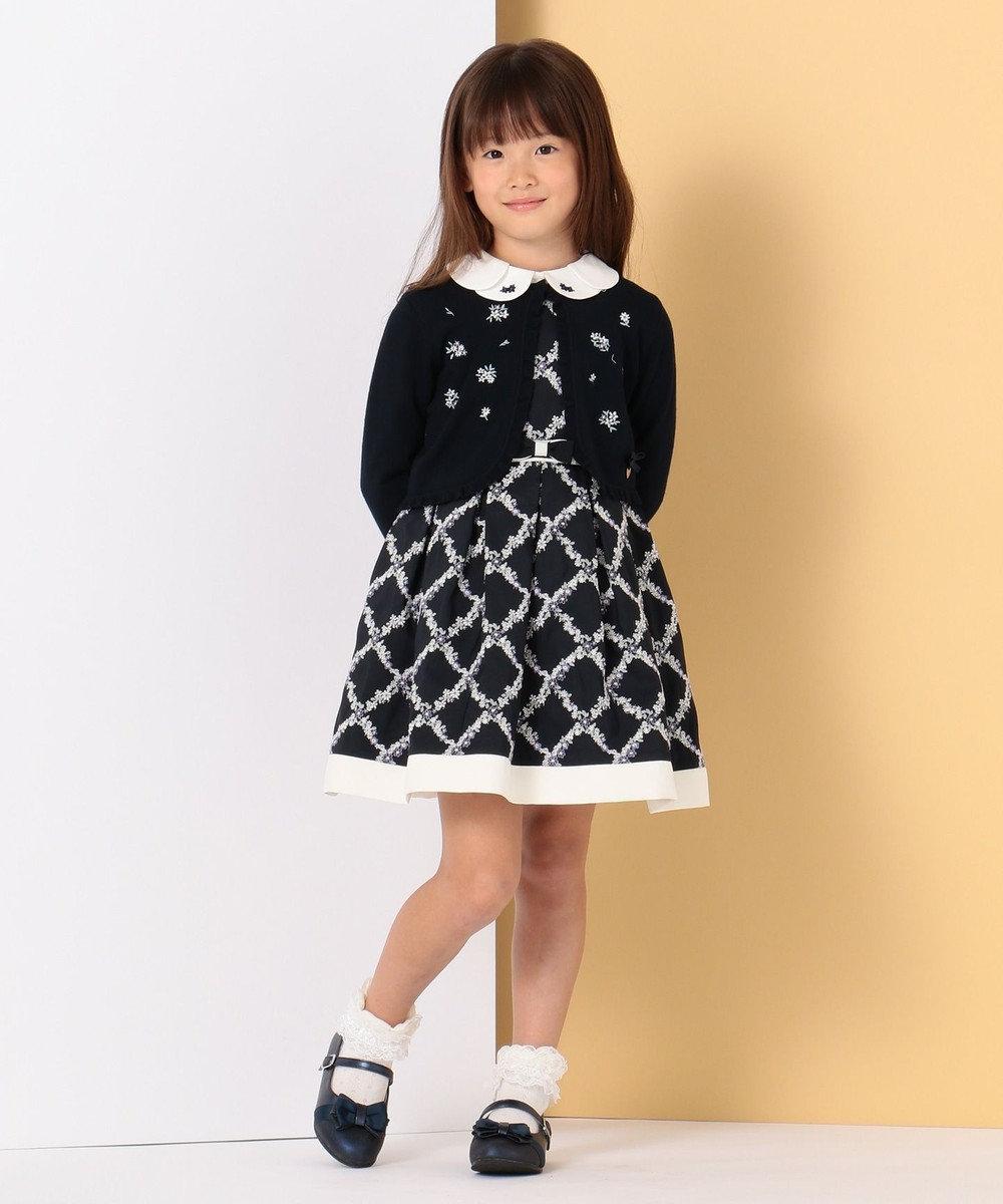 組曲 KIDS 【ひなちゃん着用/110-130cm】プチフラワー刺繍 ブラウス ホワイト系