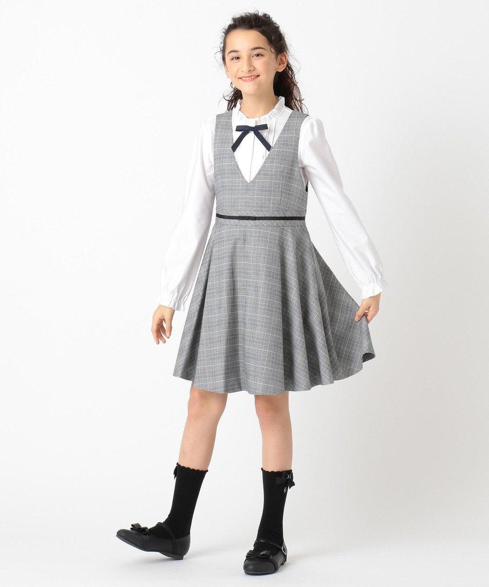 組曲 KIDS 【150-170cm】フリルスタンドカラー ブラウス ホワイト系