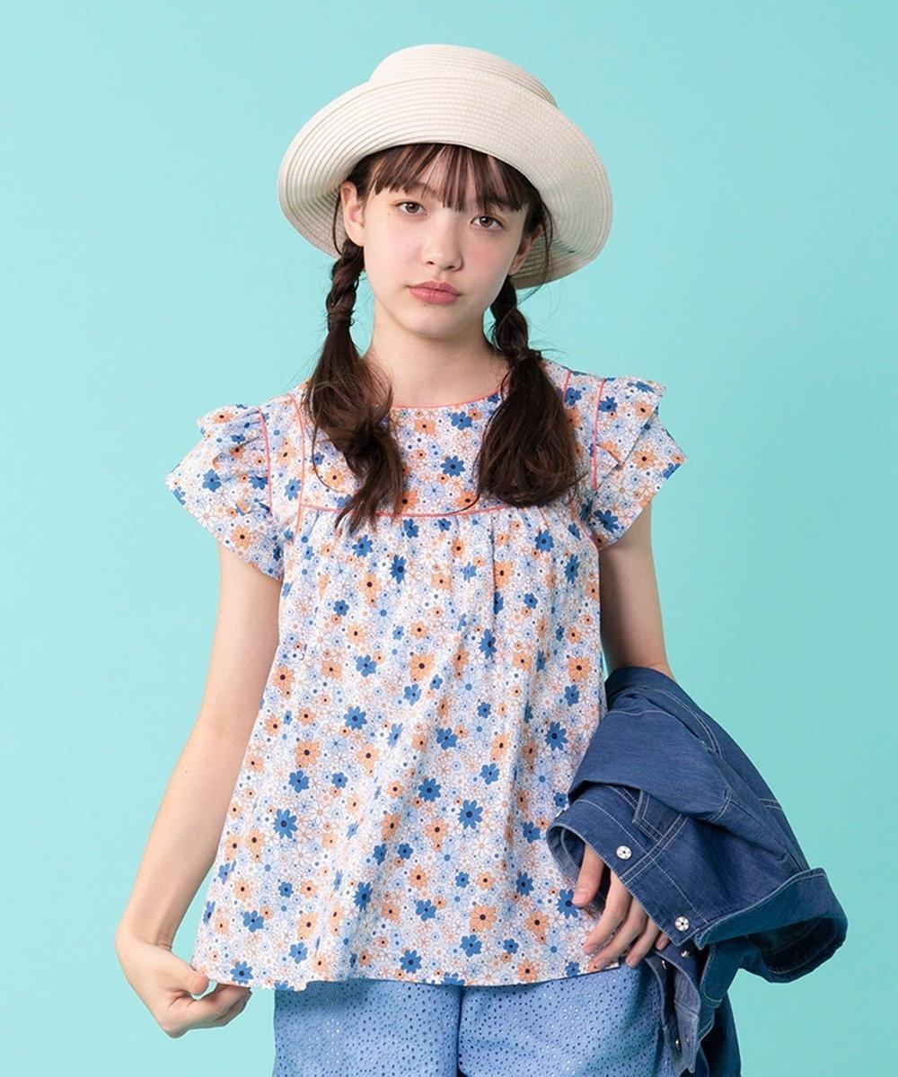 組曲 KIDS 【150~170cm】マリンフラワーブラウス ブルー系5