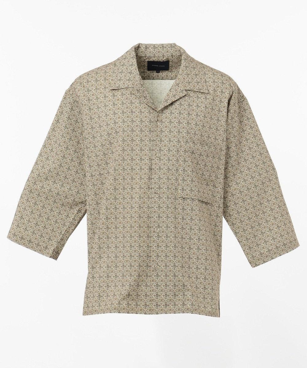 SHARE PARK MENS 7分袖総柄オープンカラーシャツ ダークブラウン系1