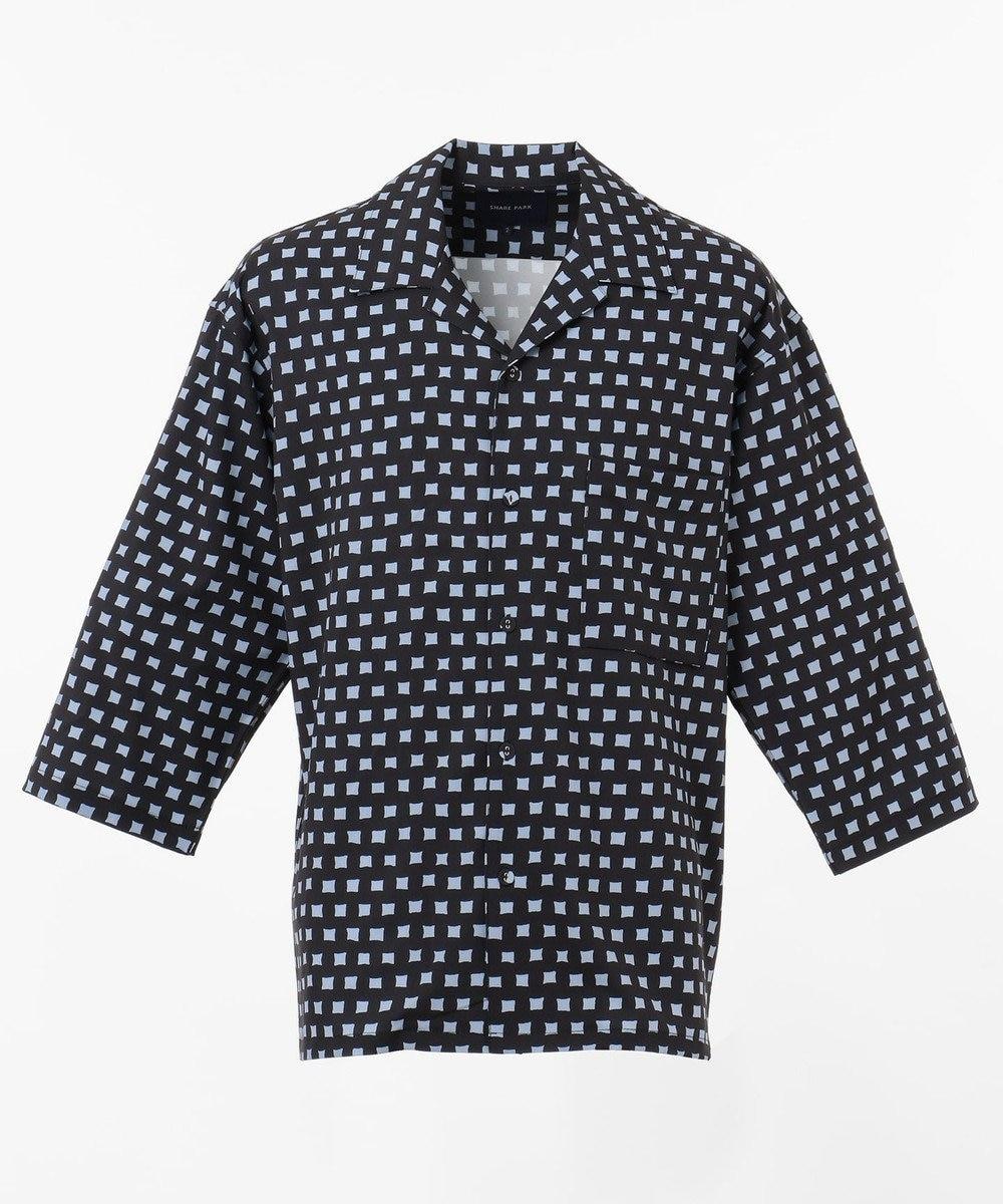 SHARE PARK MENS 7分袖総柄オープンカラーシャツ ネイビー系1