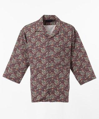 SHARE PARK MENS 7分袖総柄オープンカラーシャツ ワイン系1
