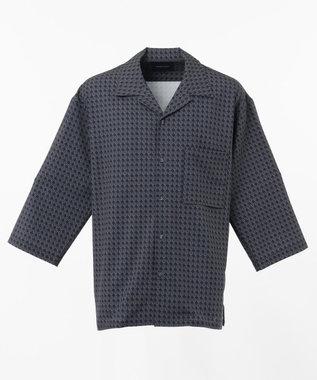 SHARE PARK MENS 7分袖総柄オープンカラーシャツ ブルー系1