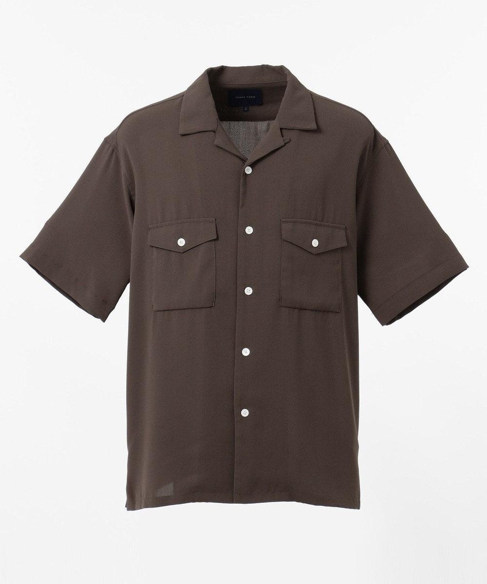SHARE PARK MENS ダブルポケット半袖オープンカラーシャツ ダークブラウン系