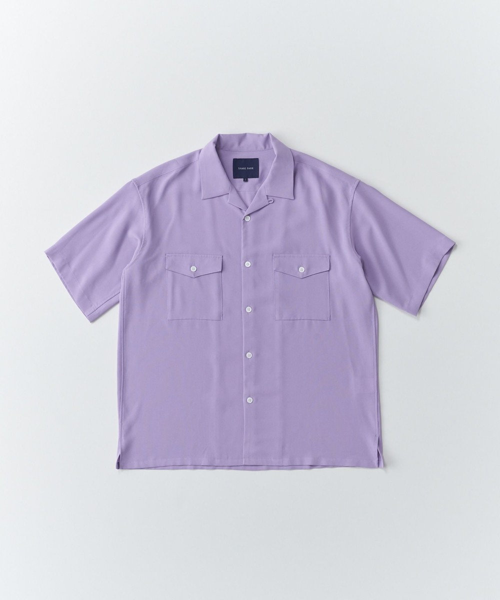 SHARE PARK MENS ダブルポケット半袖オープンカラーシャツ ライラック系