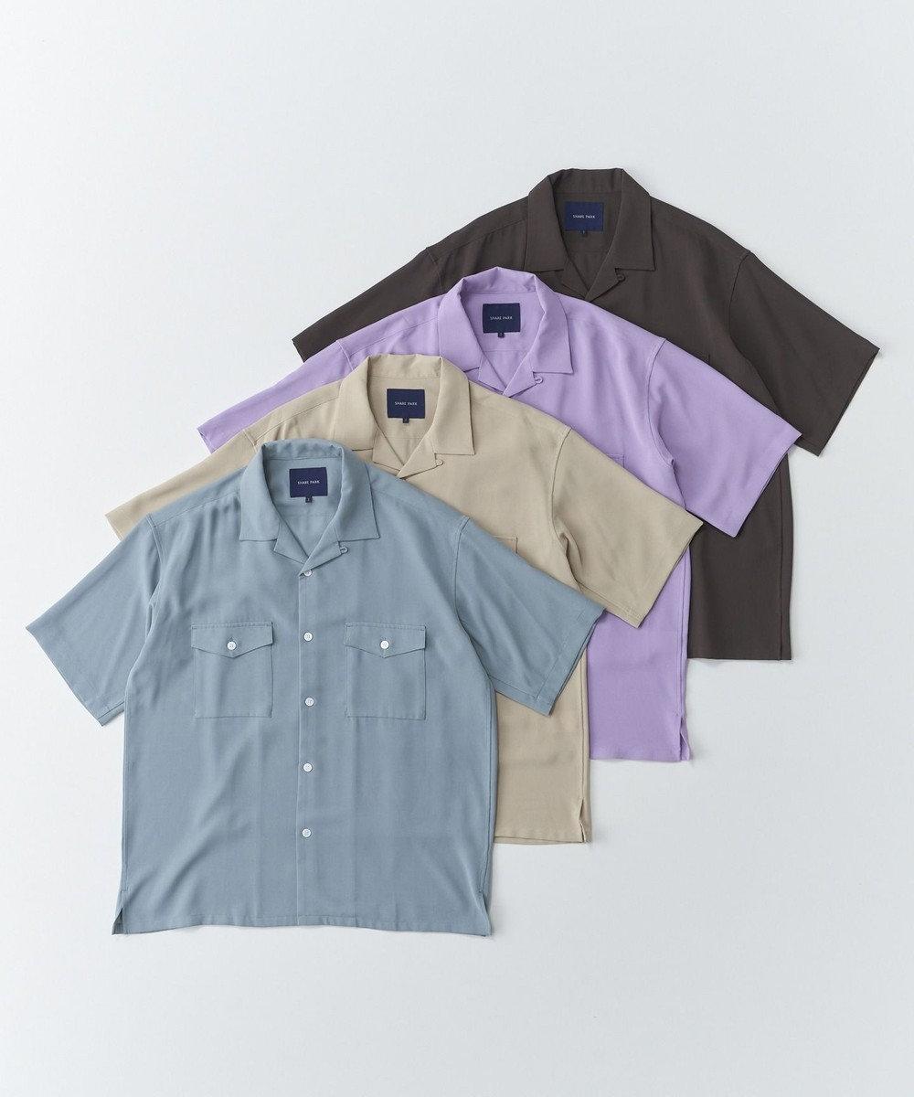 SHARE PARK MENS ダブルポケット半袖オープンカラーシャツ サックスブルー系