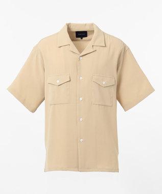 SHARE PARK MENS ダブルポケット半袖オープンカラーシャツ ベージュ系