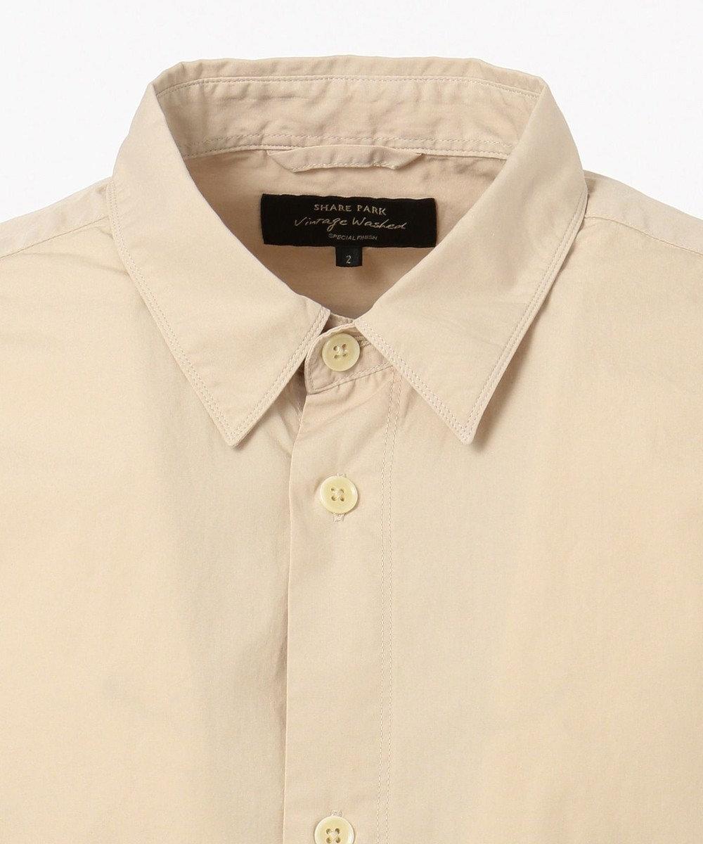 SHARE PARK MENS ガーメントダイレギュラーカラーシャツ ベージュ系