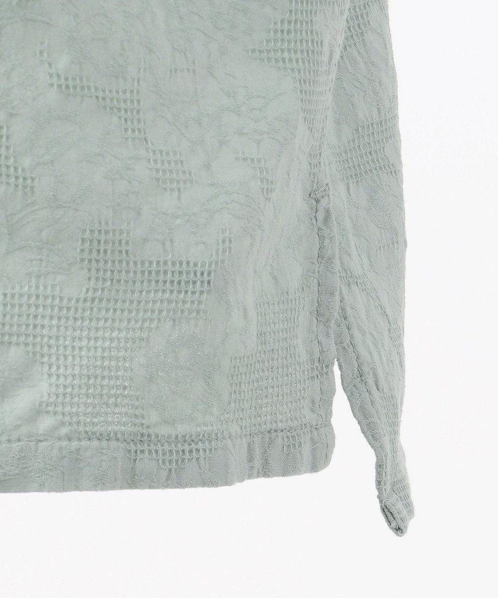 SHARE PARK MENS ジャガードパナマオープンカラー シャツ スカイブルー系