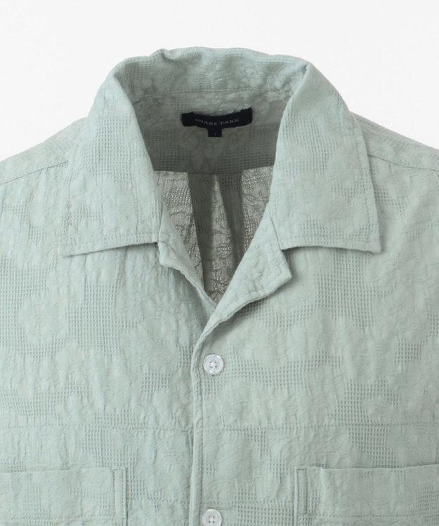 SHARE PARK MENS ジャガードパナマオープンカラー シャツ