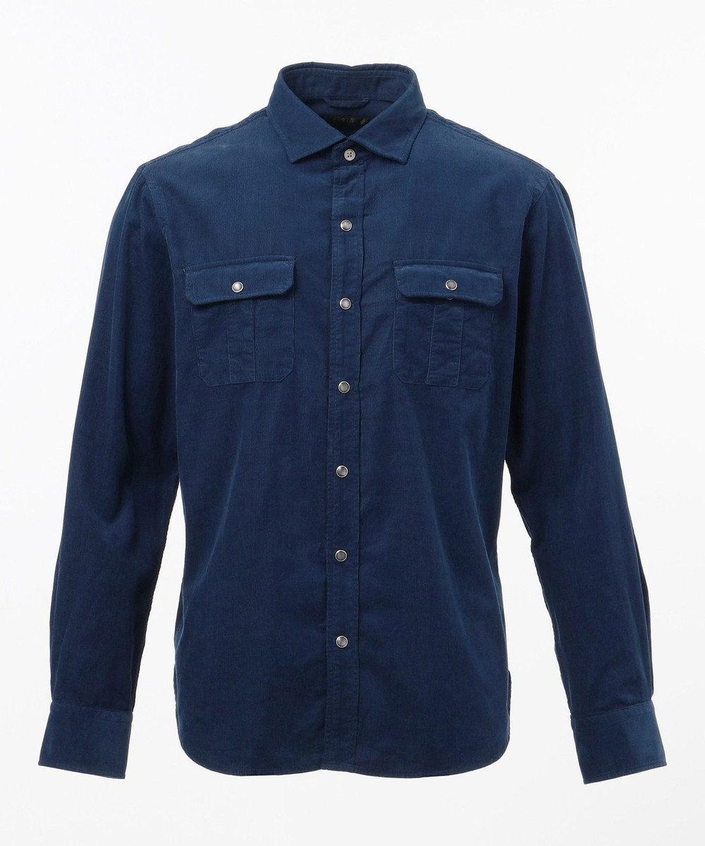23区HOMME 【FORZA STYLE掲載】carlobassettiシャツコール シャツ ネイビー系