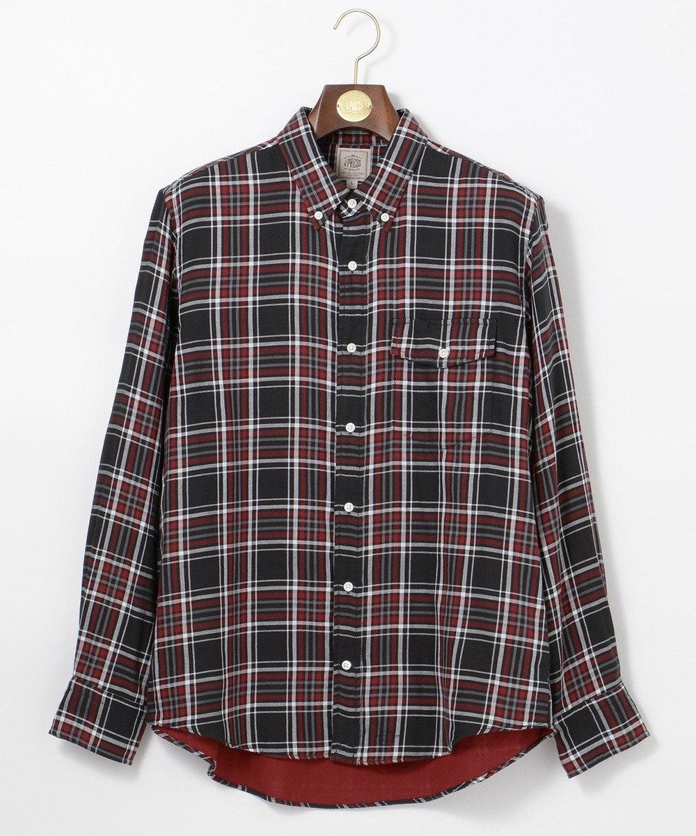 J.PRESS MEN ダブルガーゼ チェックシャツブルゾン / ボタンダウン ブラック系3