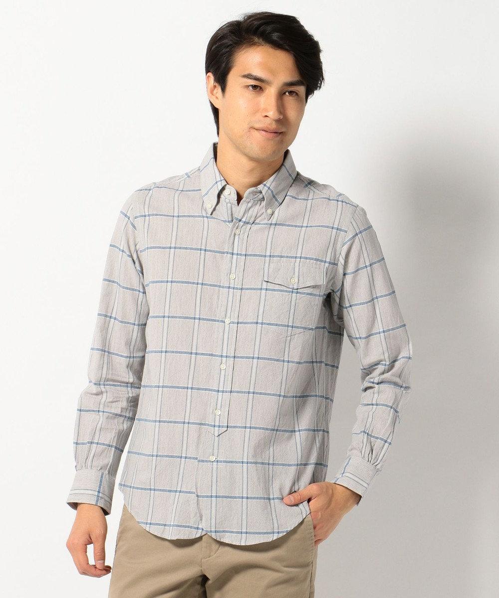 J.PRESS MEN COTTON COLORED CHECK B.Dシャツ ライトグレー系4