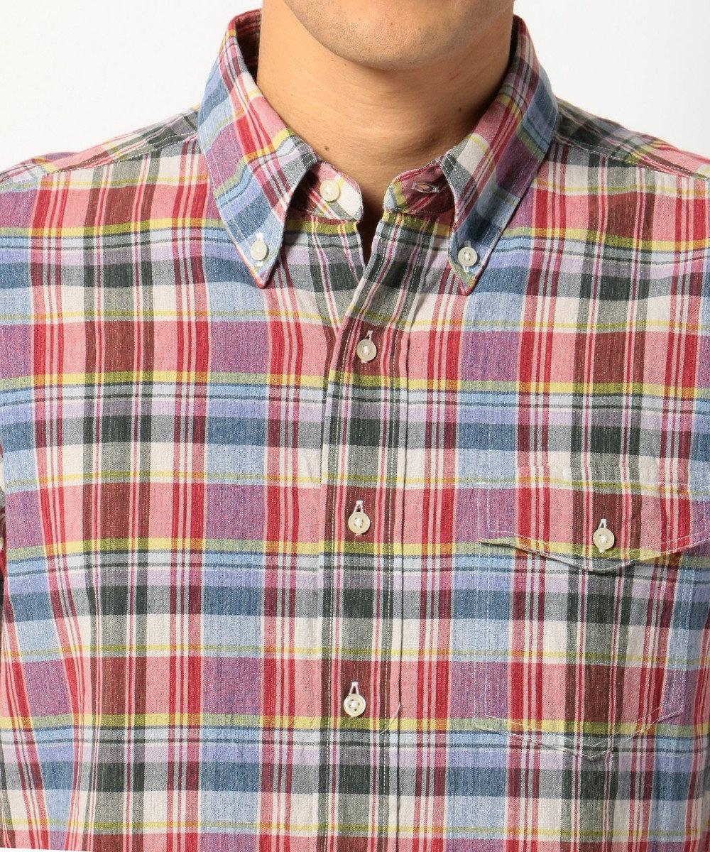 J.PRESS MEN COTTON COLORED CHECK B.Dシャツ レッド系4