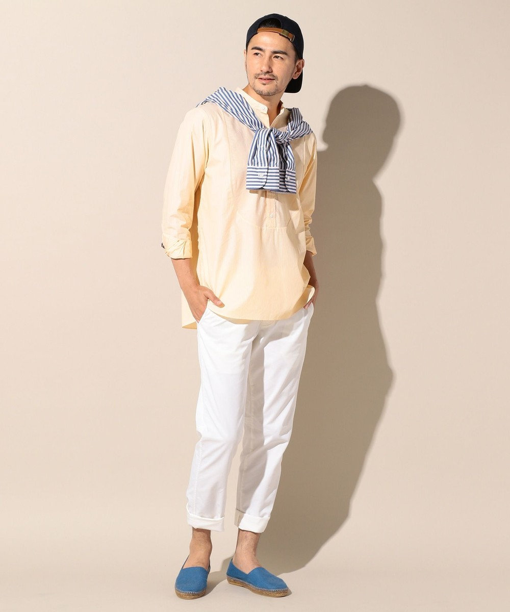 J.PRESS MEN ポプリンロンスト バンドカラーシャツ イエロー系1
