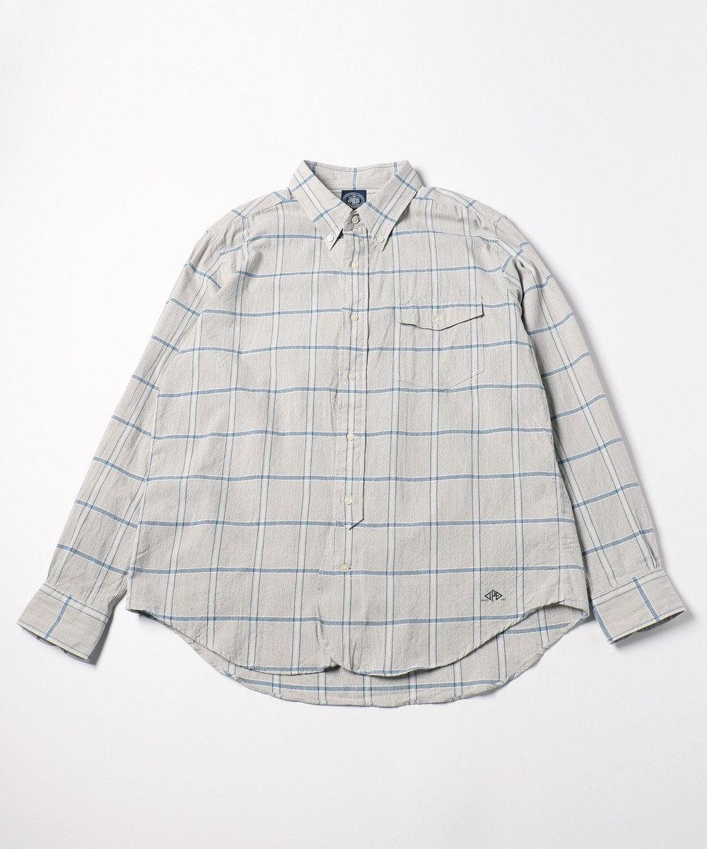 J.PRESS MEN 【キングサイズ】COTTON COLORED CHECK B.Dシャツ ライトグレー系4